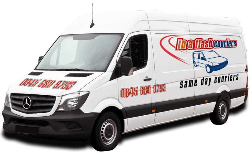 Image of Sprinter type van with company logo on the side