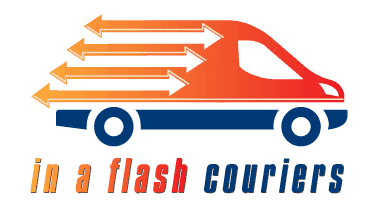 "Graphic of a van in orange and blue with text in italics ""In A Flash Couriers"""